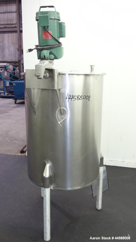 "Used- Perma-San Tank, 120 Gallons, Model OVS, 316 Stainless Steel, Vertical. Approximately 30"" diameter x 41"" straight side,..."