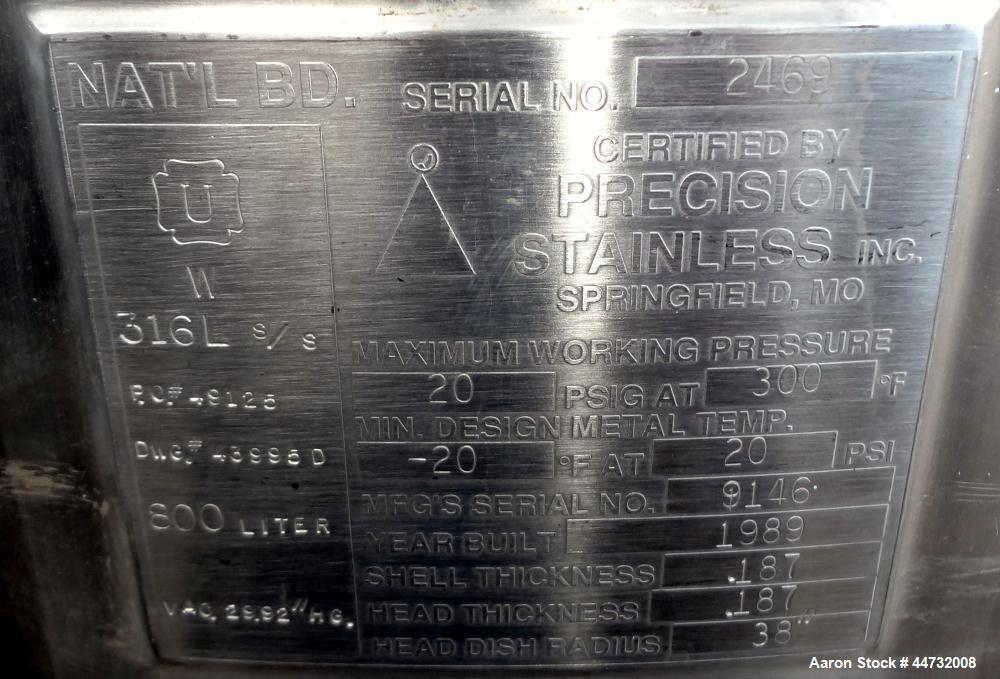 Used- 800 Liter Stainless Steel Pressure Tank