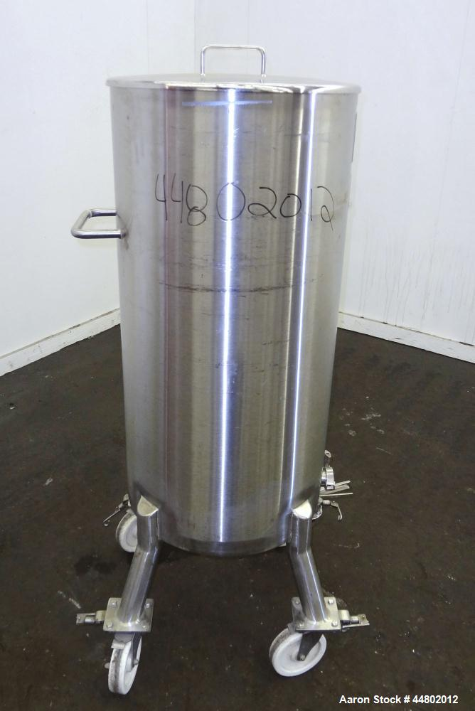 "Used- Precision Stainless Tank, 200 Liters (52.8 Gallons), 316L Stainless Steel, Vertical.  Approximately 20"" diameter x 40""..."