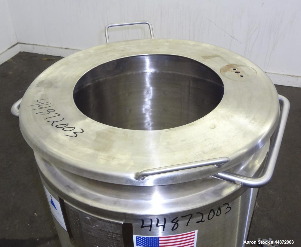 "Used- Precision Stainless Kettle, 28 Gallon, 316L Stainless Steel, Vertical. Approximately 20"" diameter x 20"" straight side,..."