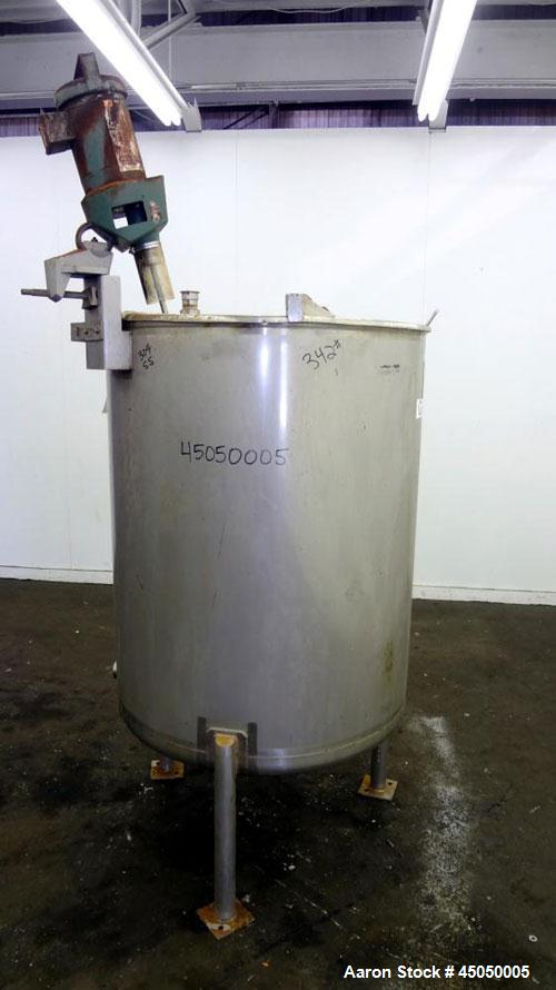 "Used- Stainless Fabrication Tank, 250 Gallon, 304 Stainless Steel, Vertical. Approximate 38"" Diameter x 46"" straight side, o..."