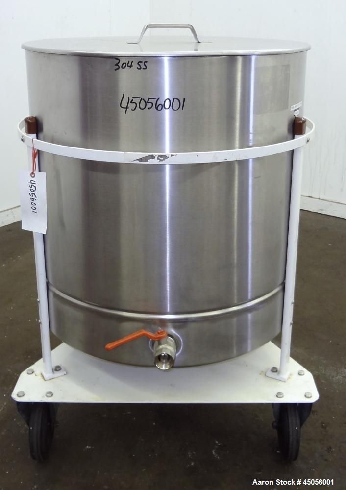 "Used- M.J.S. Tank, 300 Liter (79.2 Gallon), Type 300 RSWAC/C, 304 Stainless Steel, Vertical. Approximately 30-1/2"" diameter ..."