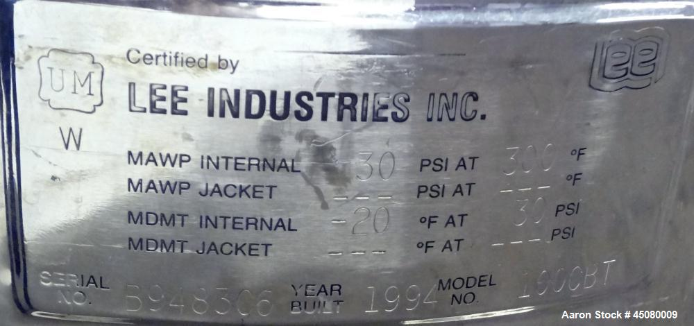 Used- 100 Liter Stainless Steel Lee Industries Pressure Tank, Model 100CBT