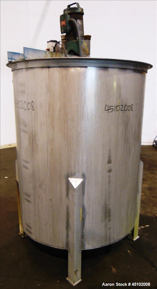"Used- Haza Mechanical Tank, 458 Gallons, 316L Stainless Steel, Vertical, 48"" Diameter x 59"" straight side. Open top with (1)..."