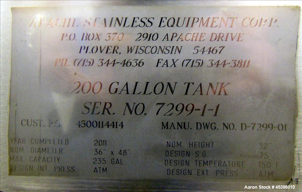 201 Gallon Stainless Steel Apache Stainless Equipment Square Gravity Filter Tank