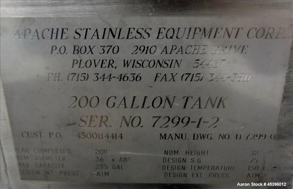 202 Gallon Stainless Steel Apache Stainless Equipment Square Gravity Filter Tank