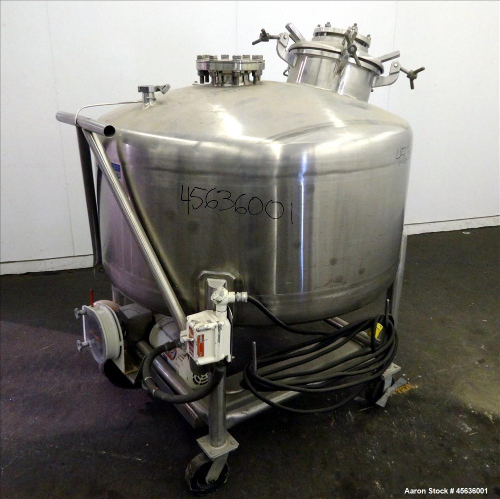 "Used- Mueller Pressure Tank, 150 Gallon, 316 Stainless Steel, Vertical. 48"" Diameter x 16"" straight side, dished top and bot..."