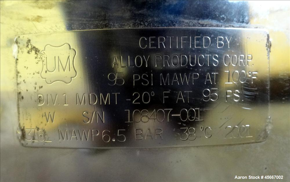 "Used- Alloy Products Pressure Tank, 30 Gallons, 316L Stainless Steel, Vertical. 17-1/2"" diameter x 29"" straight side. Dished..."