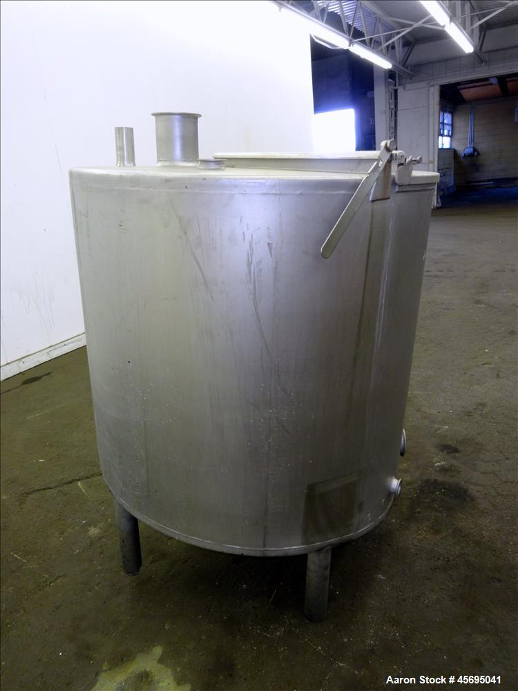 "Used- Tank, Approximately 140 Gallon, Stainless Steel, Vertical. 36"" Diameter x 34"" straight side, flat top with a 1/3 hinge..."