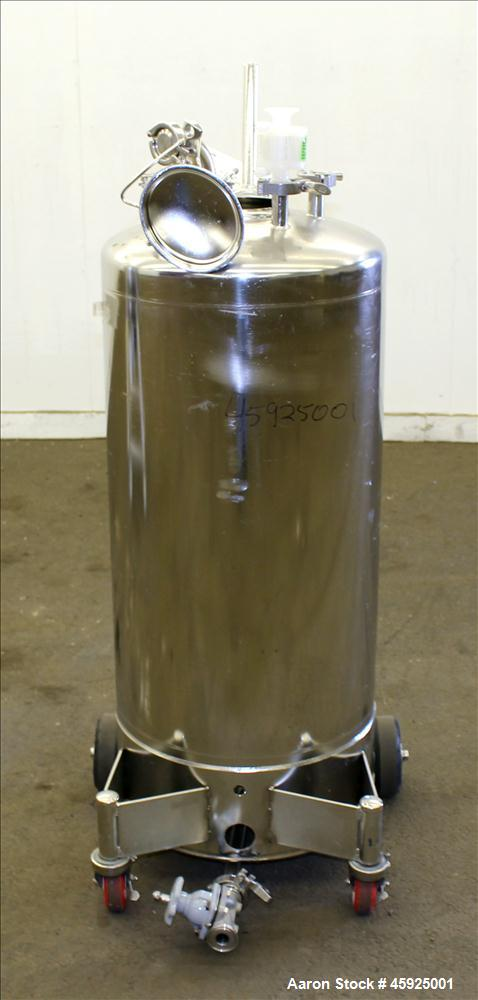 "Used- Alloy Products Pressure Tank, Approximately 30 Gallon, 316 Stainless Steel, Vertical. 18"" Diameter x 29"" straight side..."