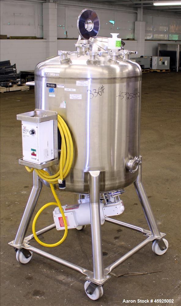 "Used- Precision Stainless Pressure Tank, 52.8 Gallon (200 Liter), 316L Stainless Steel, Vertical. 26"" Diameter x 24"" straigh..."