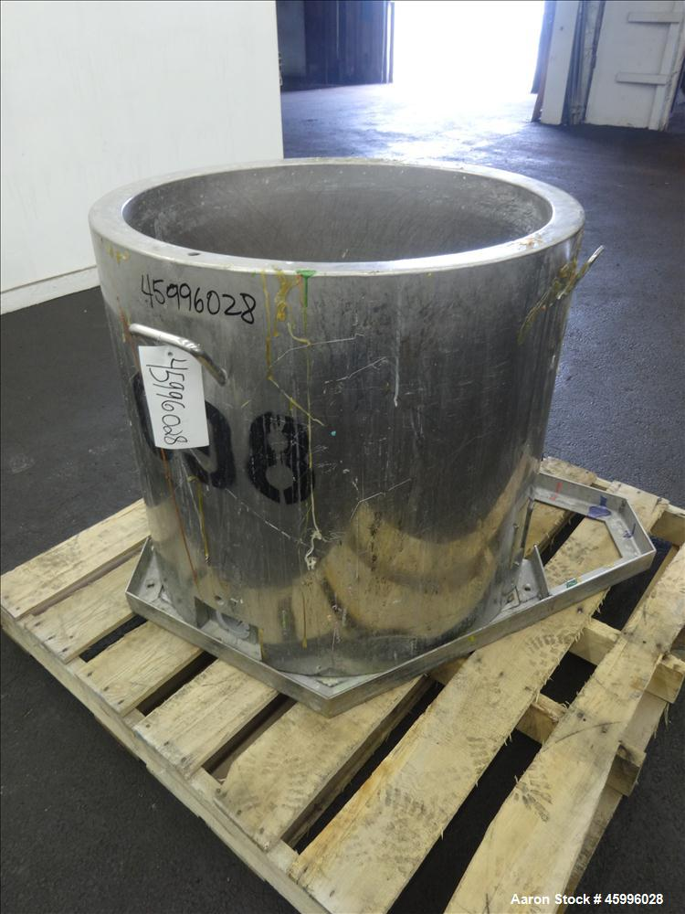 "Used- Tank, Approximate 60 Gallon, 304 Stainless Steel, Jacketed, Vertical. 28"" diameter x 24"" straight side. Pitched sloped..."