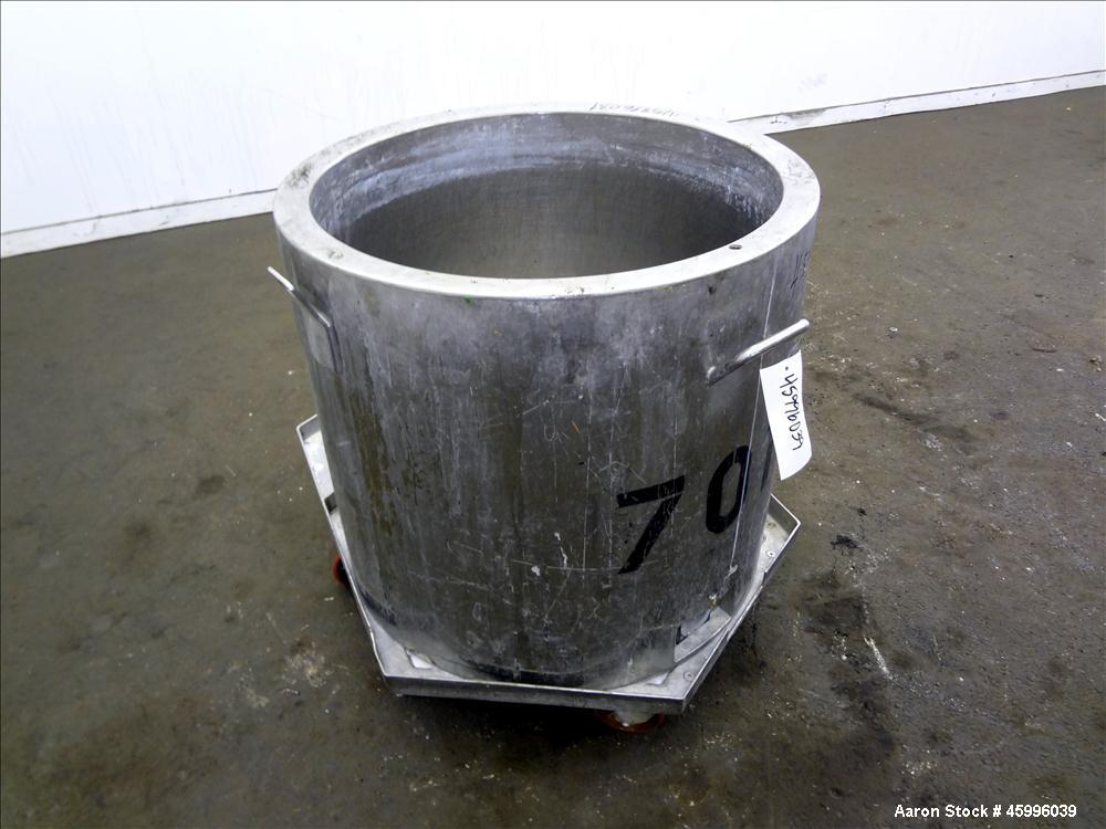 "Used- Approximate 60 Gallon Tank, 304 Stainless Steel, Jacketed, Vertical. 28"" diameter x 24"" straight side. Pitched sloped ..."