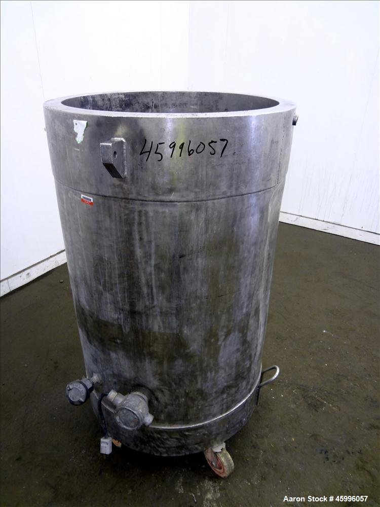 "Used- Tank, Approximate 50 Gallon, 304 Stainless Steel, Jacketed, Vertical. 24"" Diameter x 27"" straight side. Open top, dish..."