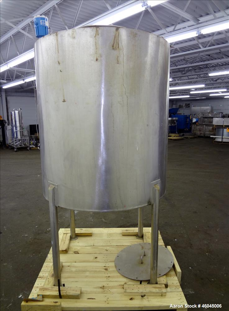 "Used- Tank, Approximate 330 Gallons, 304 Stainless Steel, Vertical. 45"" diameter x 48"" straight side, slight cone top, cone ..."