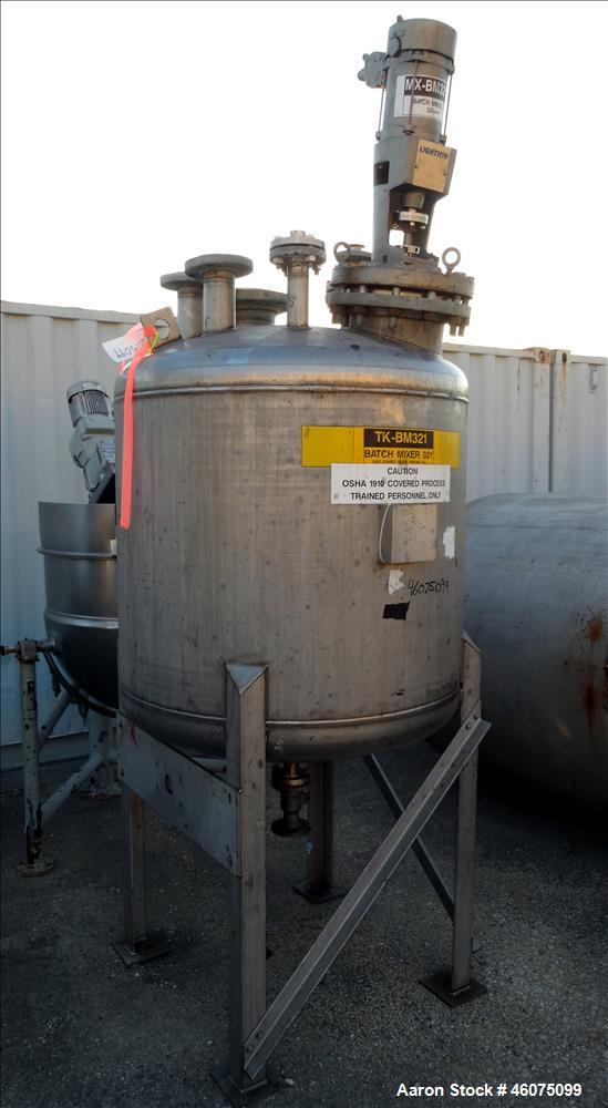 "Used- Tank, 225 Gallon, 304 Stainless Steel, Vertical. Approximate 42"" diameter x 34"" straight side, dished top & bottom. Of..."