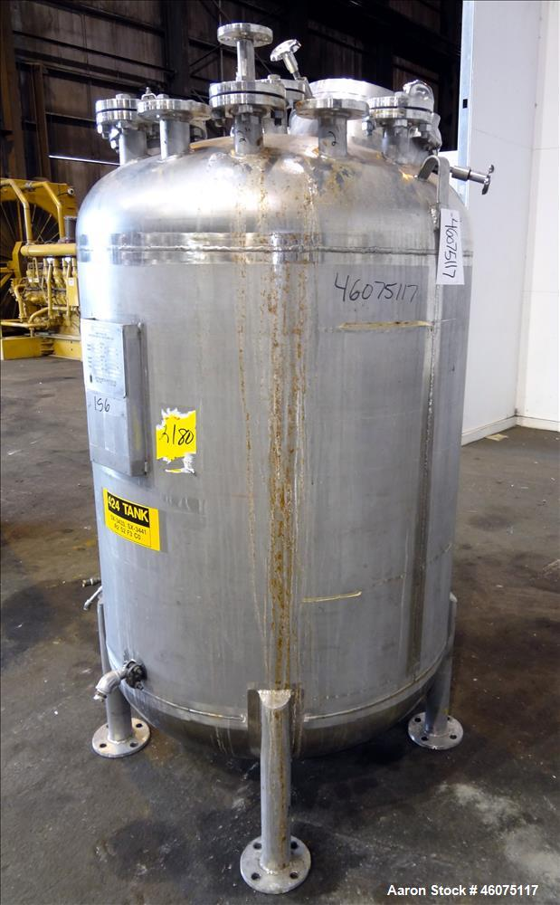 "Used- Watson Metal Masters Pressure Tank, 250 Gallon, 316L Stainless Steel, Vertical. 40"" Diameter x 42"" straight side, dish..."