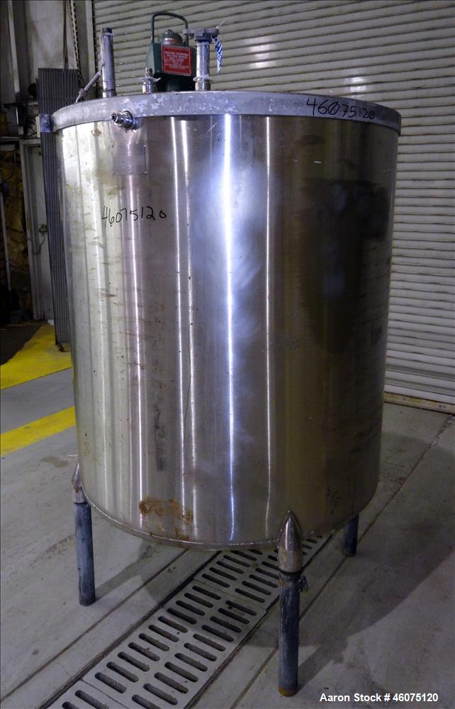 "Used- Perry Products Tank, Approximate 300 Gallon, 304 Stainless Steel, Vertical. Approximate 44"" diameter x 50"" straight si..."