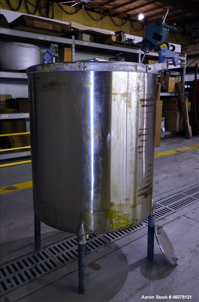 "Used- Tank, Approximate 300 Gallon, 304 Stainless Steel, Vertical. Approximate 44"" diameter x 50"" straight side, flat top, c..."