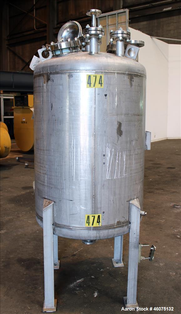 "Used- Tank, 200 Gallon, 316 Stainless Steel, Vertical. Approximate 36"" diameter x 43"" straight side, dished top & bottom. Op..."