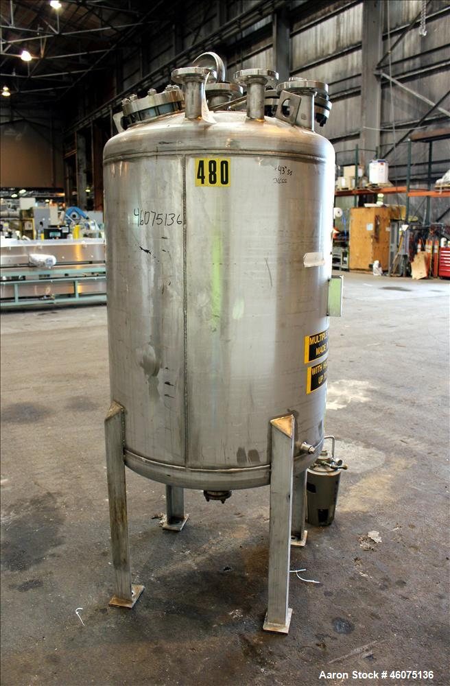 "Used- Tank, 200 Gallon, 316 Stainless Steel, Vertical. Approximate 36"" diameter x 43"" straight side, dished top & bottom. Of..."