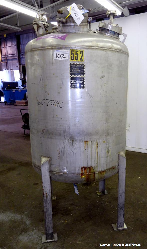 "Used- Tank, 275 Gallon, 316 Stainless Steel, Vertical. Approximate 42"" diameter x 42"" straight side, dished top & bottom. Of..."
