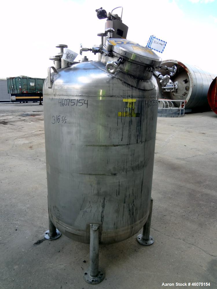 "Used- Watson Metal Masters Pressure Tank, 250 Gallon, 316L Stainless Steel, Vertical. 39.25"" Diameter x 42"" straight side, d..."
