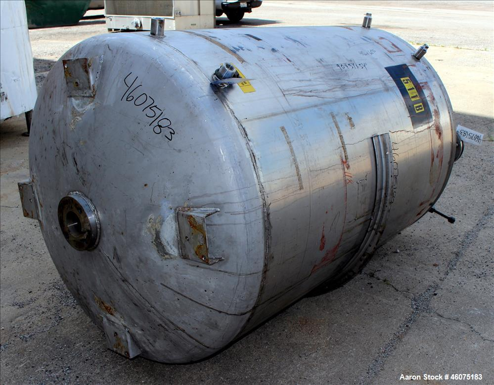 "Used- Tank, 500 Gallon, 304 Stainless Steel, Vertical. Approximate 48"" diameter x 60"" straight side, dished top & bottom. Op..."