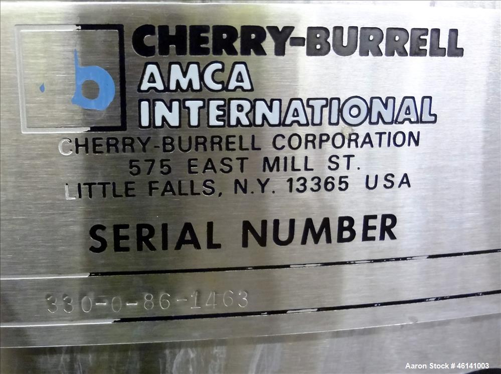 "Used- Cherry Burrel Tank, Approximately 300 Gallon, 304 Stainless Steel, Vertical. 48"" Diameter x 40"" straight side. Flat to..."