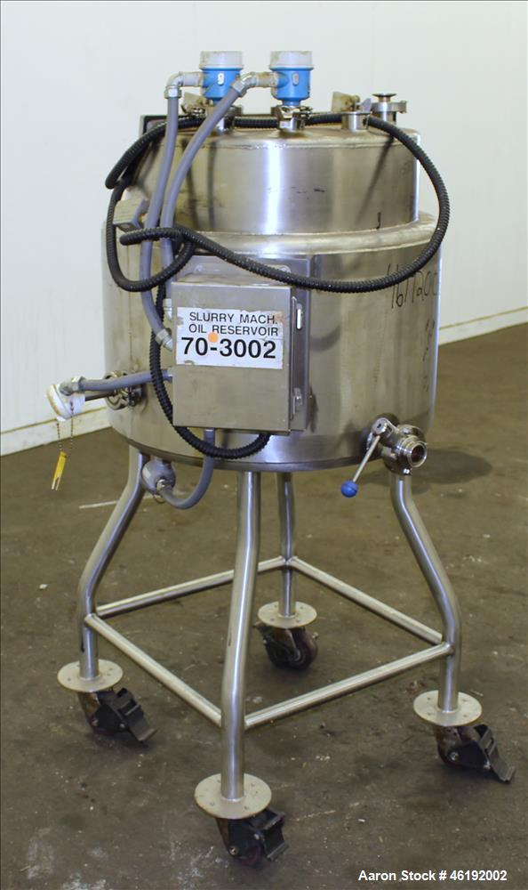 "Used- Tank, Approximately 30 Gallon, 304 Stainless steel. 23-1/2"" Diameter x 16"" straight side, insulated. Flat top, sloped ..."