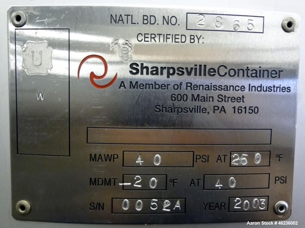Used- Sharpsville Container Pressure Tank, 1250 Liter (330 Gallon) Capacity, 304 Stainless Steel, Vertical. Approximately 44...