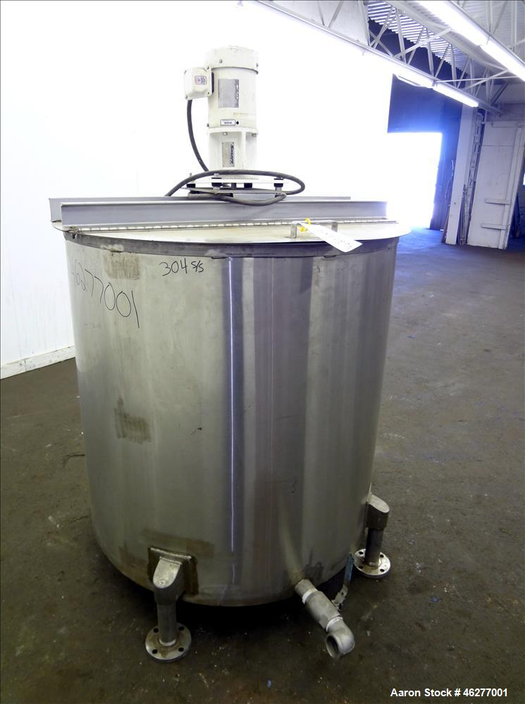 "Used- Tank, Approximately 320 Gallons, 304 Stainless Steel, Vertical. Approximately 45"" diameter x 44"" straight side. Flat t..."