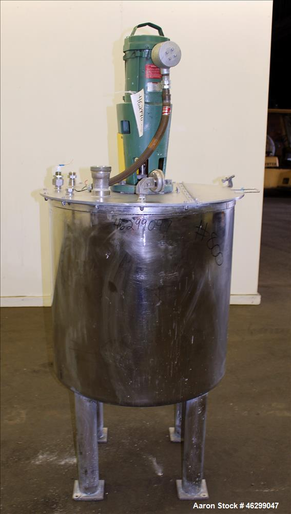 "Used- Tank, Approximately 80 Gallons, 304 Stainless Steel, Vertical. 30"" Diameter x 28"" straight side. Bolt on flat top with..."
