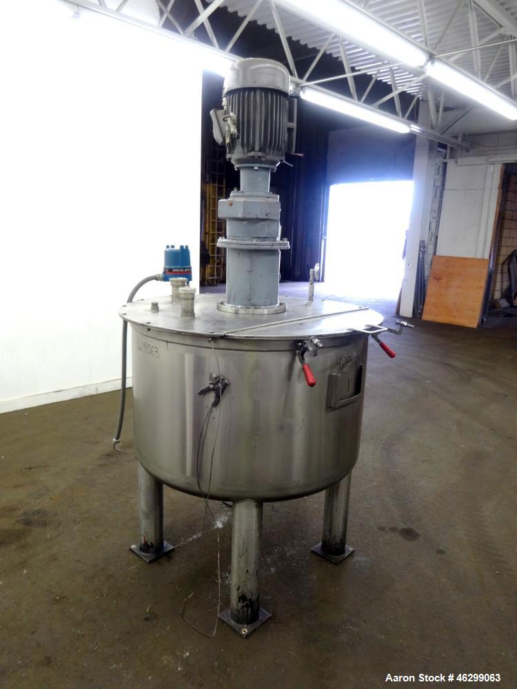 "Used- Tank, Approximately 120 Gallons, 304 Stainless Steel, Vertical. 40"" Diameter x 22"" straight side. Bolt-on flat top wit..."