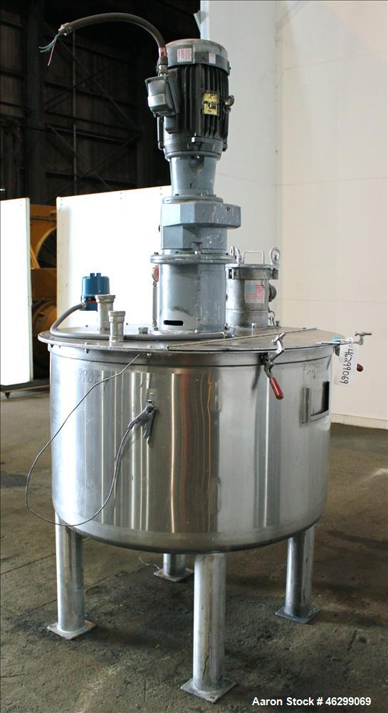 "Used- Tank, Approximately 200 Gallons, 304 Stainless Steel, Vertical. 46"" Diameter x 25"" straight side. Bolt-on flat top wit..."