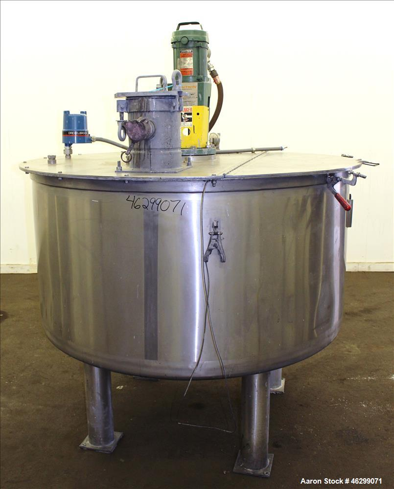 "Used- Tank, Approximately 350 Gallons, 304 Stainless Steel, Vertical. 60"" Diameter x 28"" straight side. Bolt-on flat top wit..."