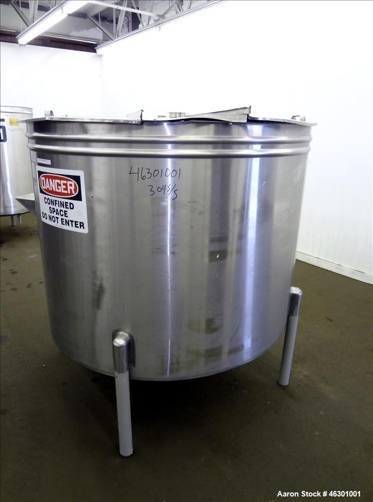 "Used- Tank, Approximately 450 Gallons, 304 Stainless Steel, Vertical. Approximately 57"" diameter x 42"" straight side, flat o..."