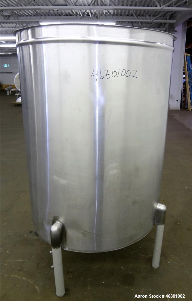 "Used- San-I-Tank, Approximately 320 Gallons, 304 Stainless Steel, Vertical. Approximately 43"" diameter x 52"" straight side, ..."