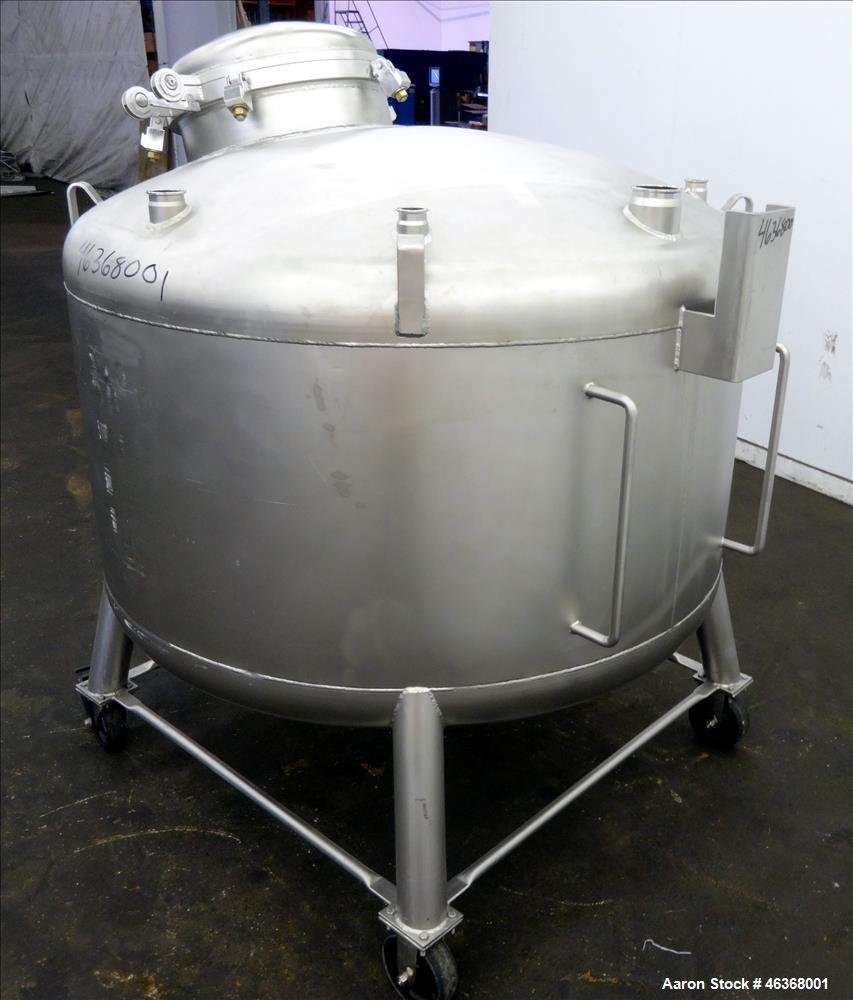 "Used- Stainless Fabrication Pressure Tank, 275 Gallons, 316L Stainless Steel, Vertical. 54"" Diameter x 23-1/2"" straight side..."