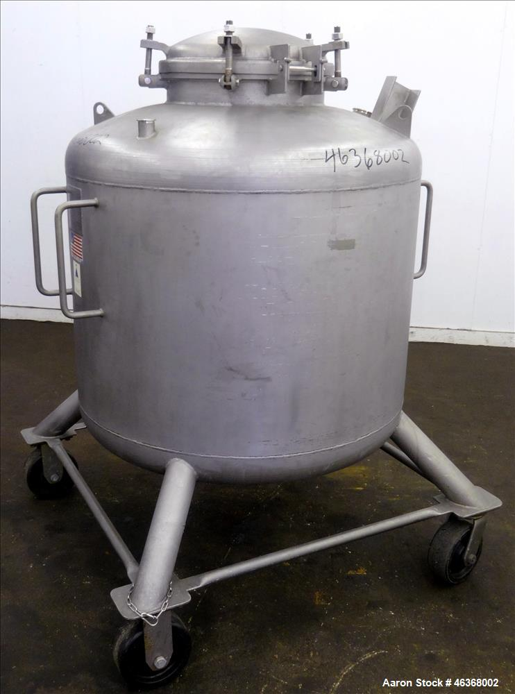 "Used- Precision Stainless Pressure Tank, 207 Gallon, 316L Stainless Steel, Vertical. 42"" Diameter x 28"" straight side, dishe..."