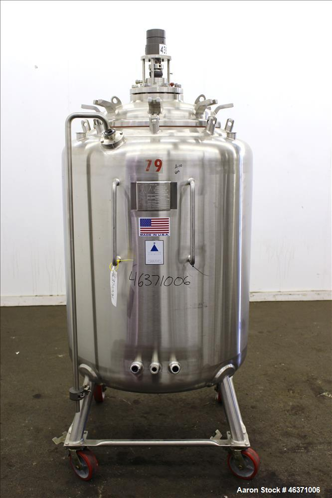 "Used- Precision Stainless Pressure Tank, 600 Liter (158.50 Gallon), 316L Stainless Steel, Vertical. 36"" Diameter x 36"" strai..."