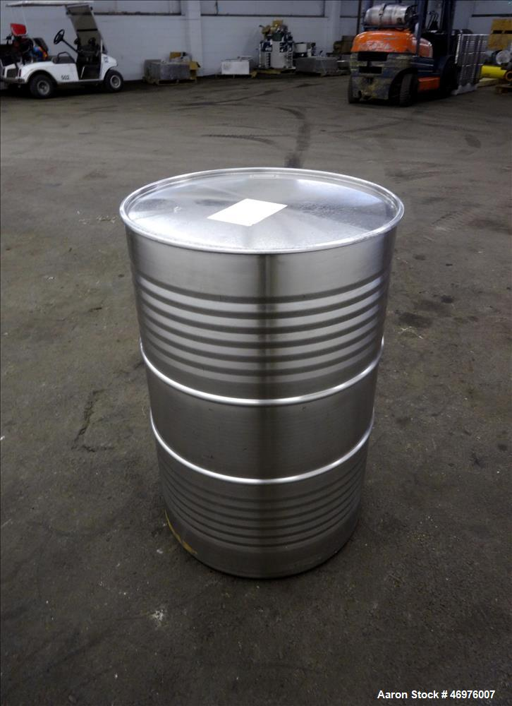 Used- MO Drum, 200 Liters (52.8 Gallons), 304 Stainless Steel, Vertical.