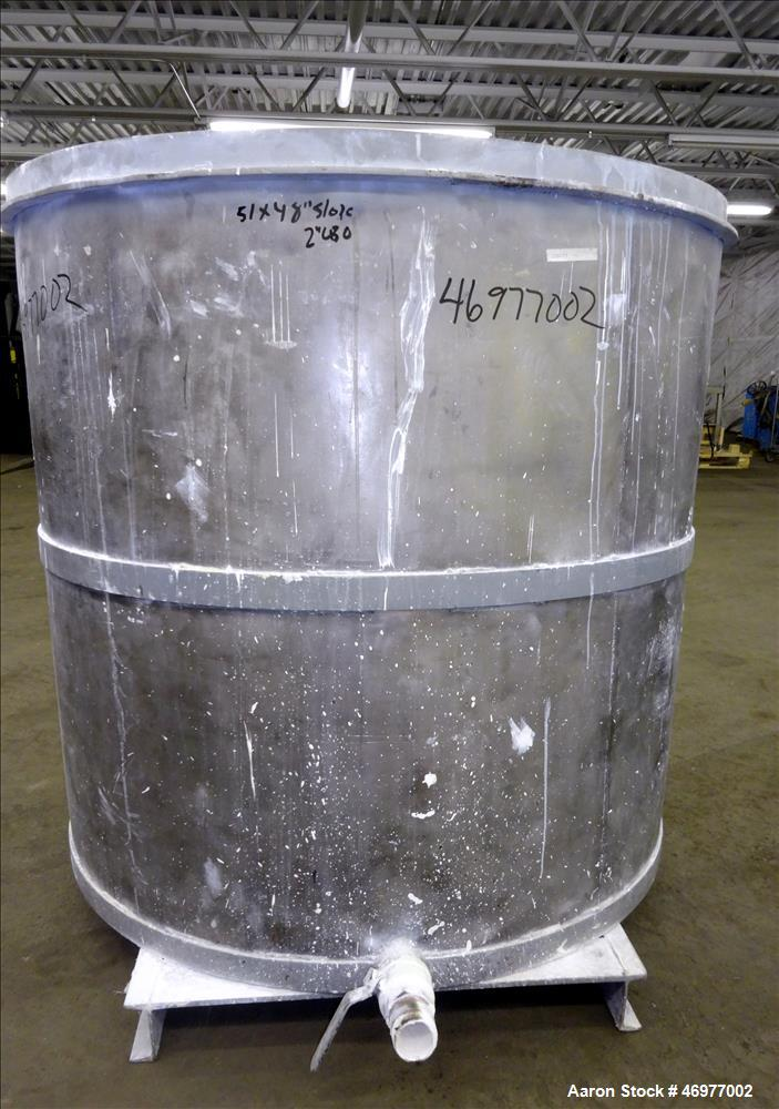 "Used- Tank, Approximate 400 Gallons, 304 Stainless Steel, Vertical. Approximate 50"" diameter x 48"" straight side. Open top, ..."
