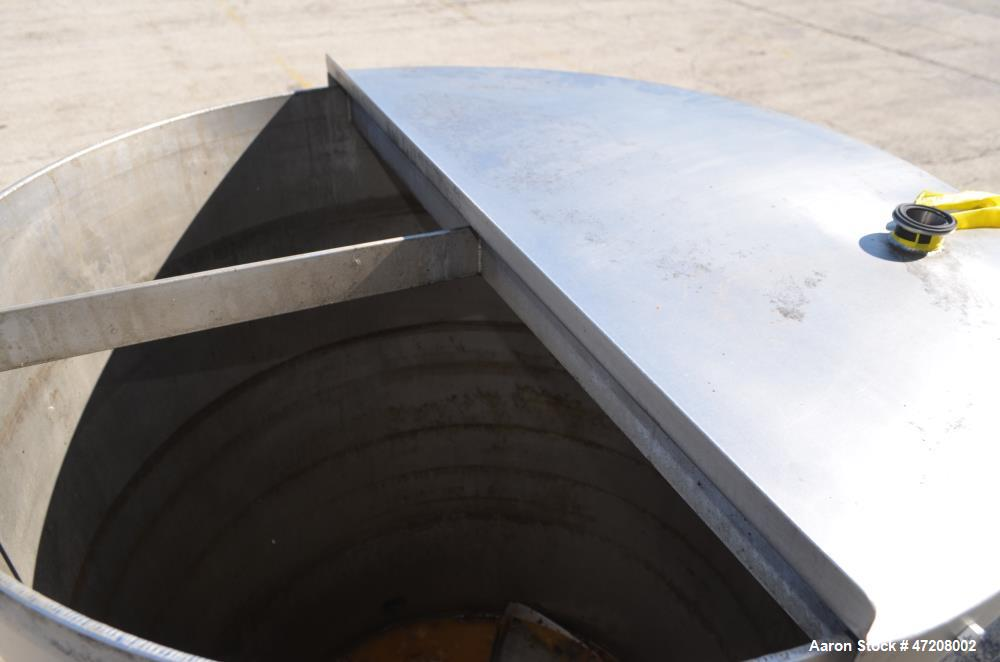 "Used- Tank, Approximately 200 Gallon, 304 Stainless Steel, Vertical. 36"" Diameter x 48"" straight side. Open top with (2) 1/2..."