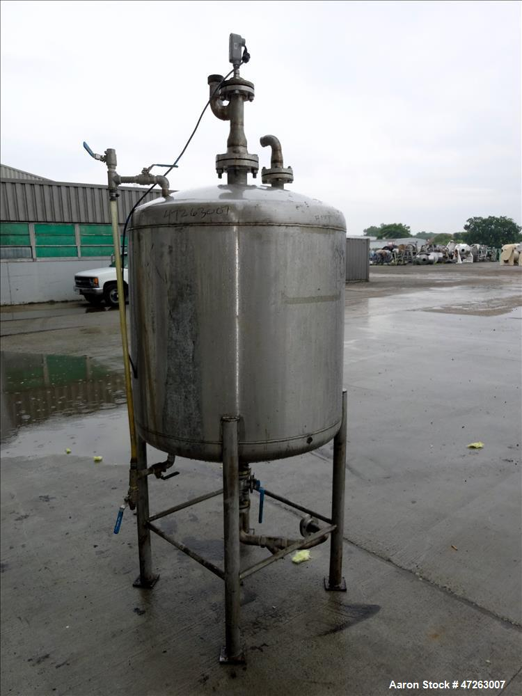 "Used- Tank, Approximate 150 Gallon, 304 Stainless Steel, Vertical. Approximate 38"" diameter x 32"" straight side, dished top ..."