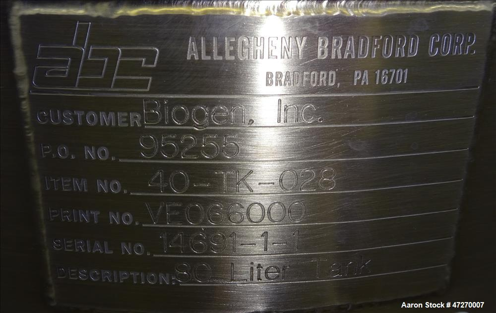 Used- Allegheny Bradford Pressure Tank, Approximate 21 Gallons (80 Liters), 316