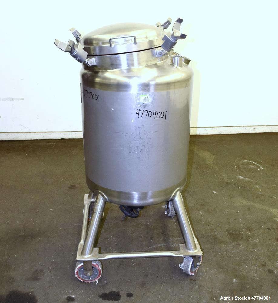 "Used- DCI Pressure Tank, 50 Gallon, 316L Stainless Steel, Vertical. 23.78"" Diameter x 24"" straight side, dished top & bottom..."