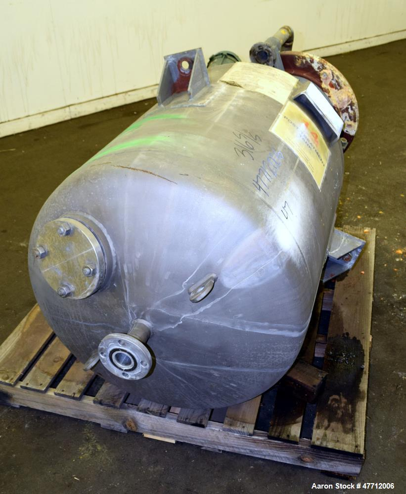 "Used- Steel-Pro Incorporated Pressure Tank, 100 Gallon, 316L Stainless Steel, Vertical. 30"" Diameter x 34"" straight side, di..."