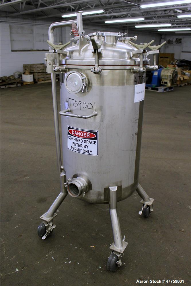 Used- Precision Stainless Pressure Tank, 250 Liter (66 Gallon), 316L Stainless S