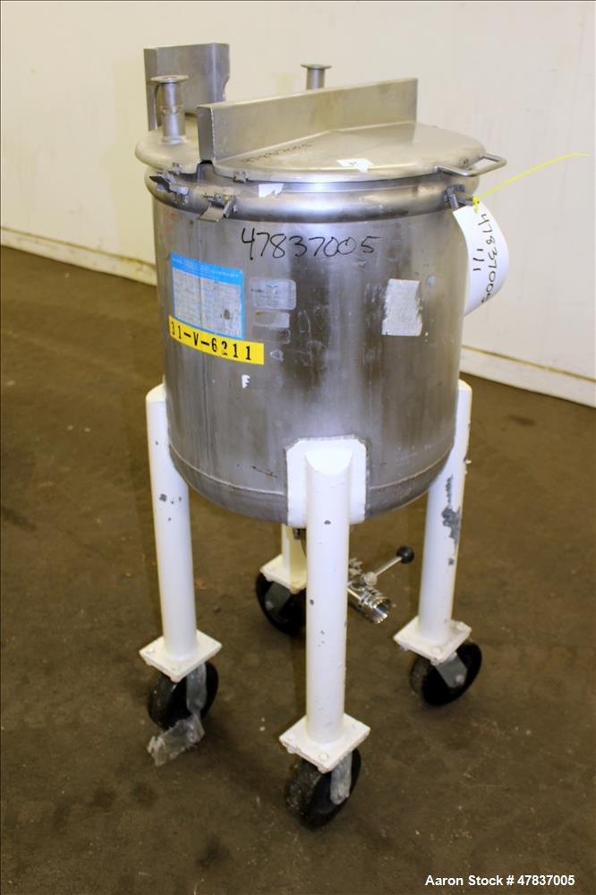 "Used- Mueller Tank, 20 Gallon, Model F, 316 Stainless Steel, Vertical. 18"" Diameter x 18"" straight side, open top with (2) 1..."